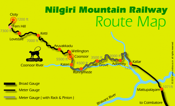 Nilgiri Mountain Railways Map