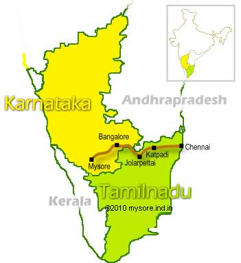 Chennai to Bangalore Rail Route map