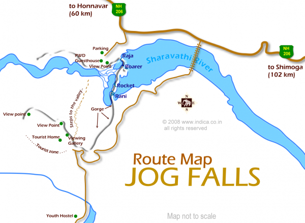 Map of Jog Falls near Shimoga