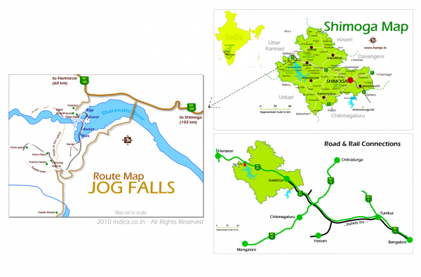 Route map for Jog Falls