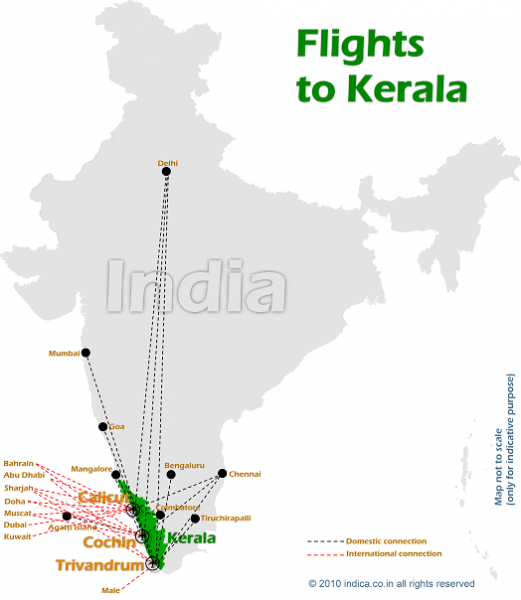 Flight connections for Kerala