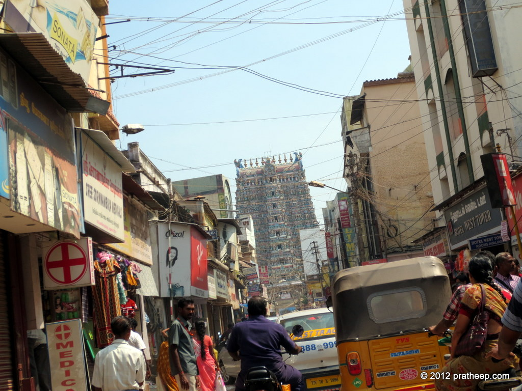 Madurai Town. Seen in the background is the gateway tower to the Meenakshi Temple Complex