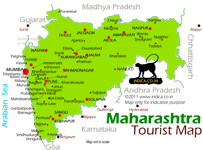 Map of Maharashtra with location of major places marked.