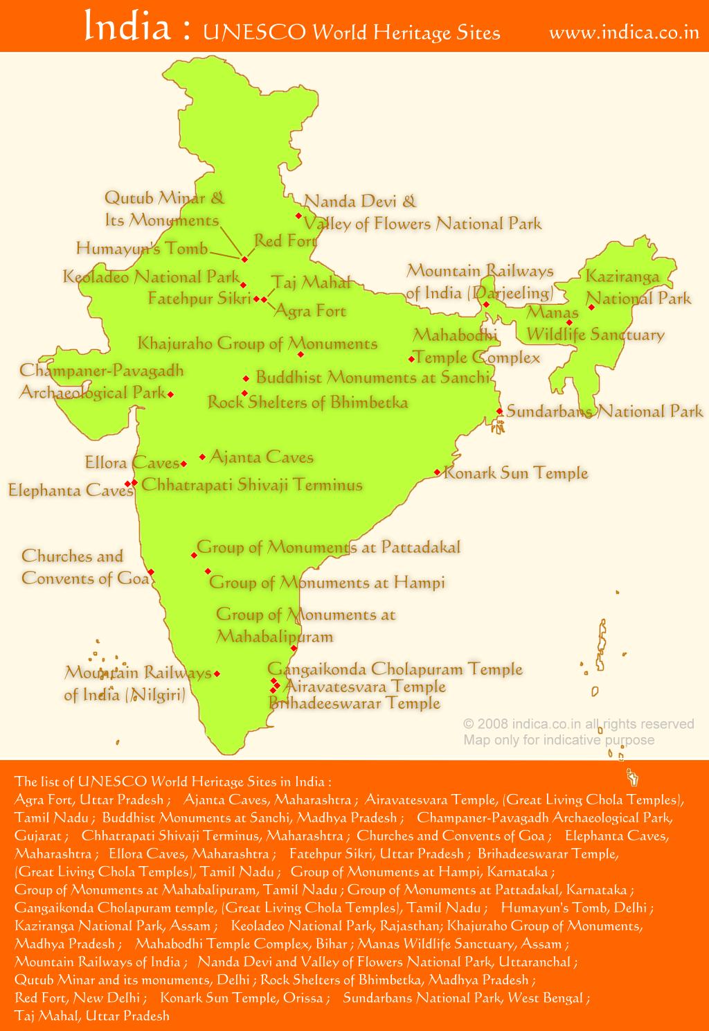 Unesco whs india unesco world heritage sites in india unesco whs india map showing the unesco world heritage sites gumiabroncs Choice Image