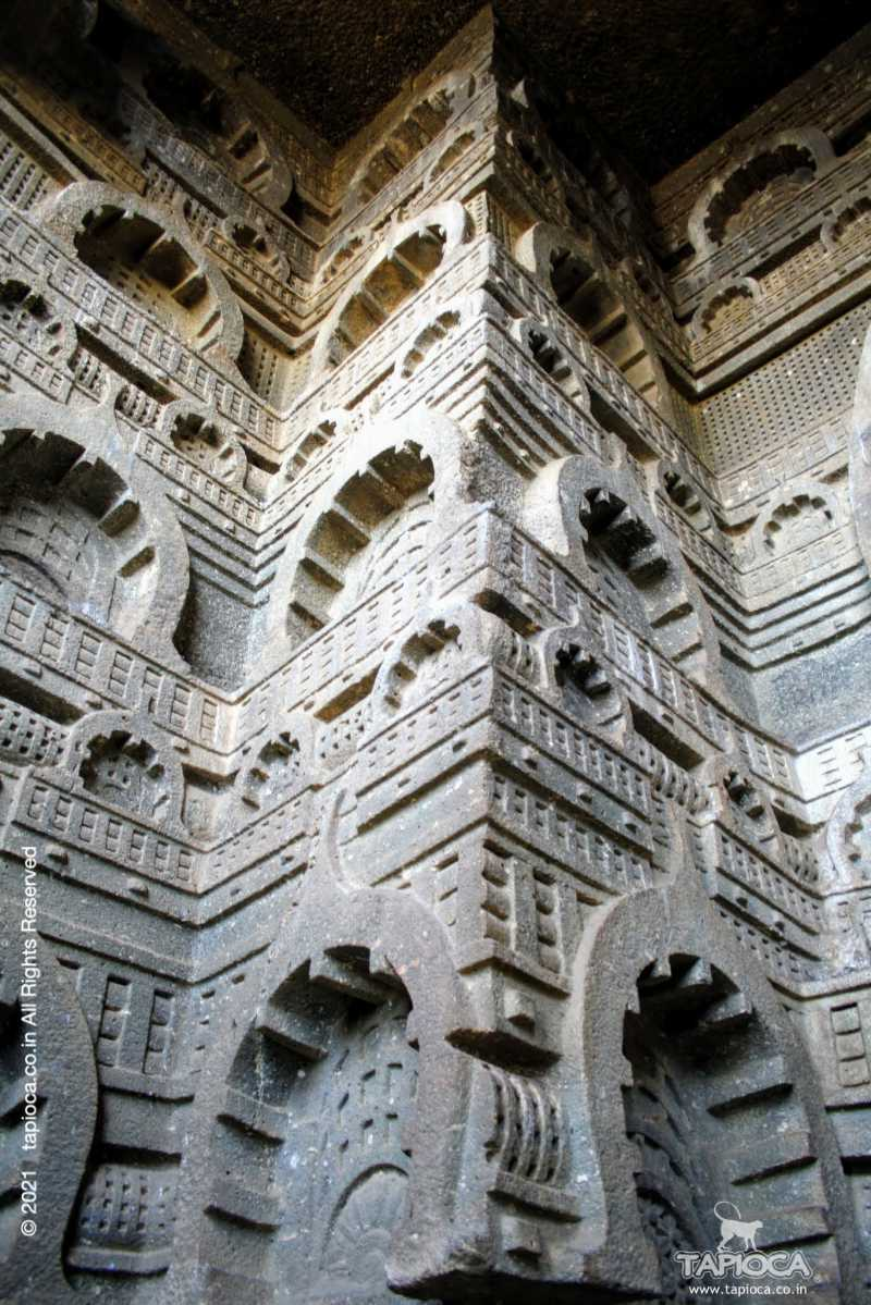 The fluted façade of the Chaitya.
