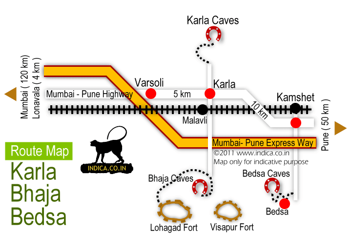Route map to Bhaja Caaves,Karla Caves and Bedse Caves from Kamshet on Mumbai-Pune Express way