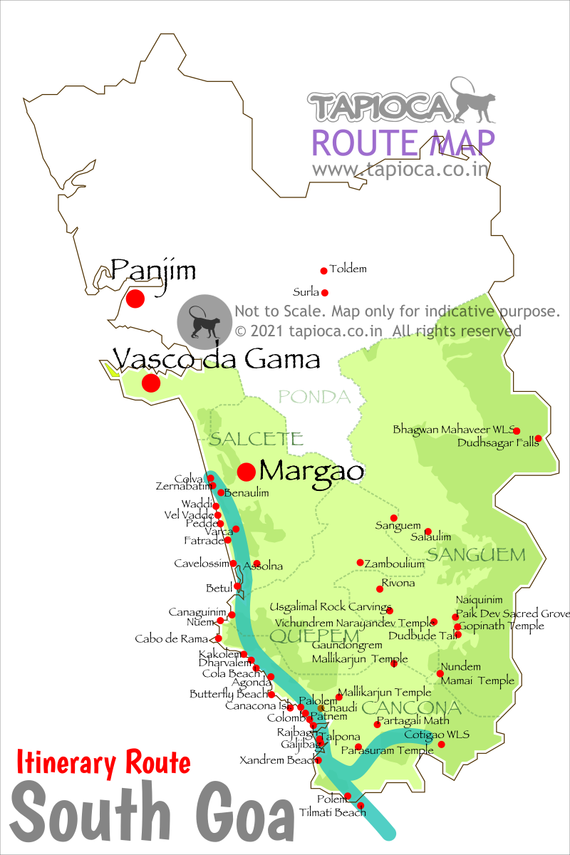 South Goa Beaches Map