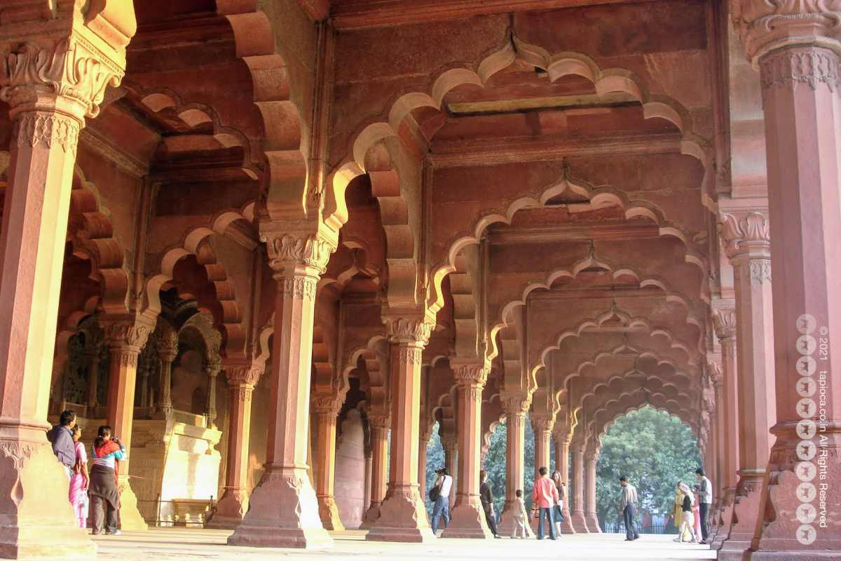 Inside the Mugal built Red Fort complex in Old Delhi Seen in the picture is the Diwan-i-am (the Public Audience Hall ) of Red Fort.
