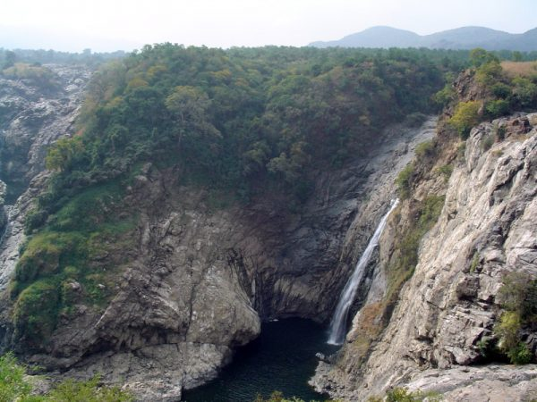 Gaganachukki Falls into a deep gorge. This of one of the twin falls at Shivanasamudram. The other being Barachukki.