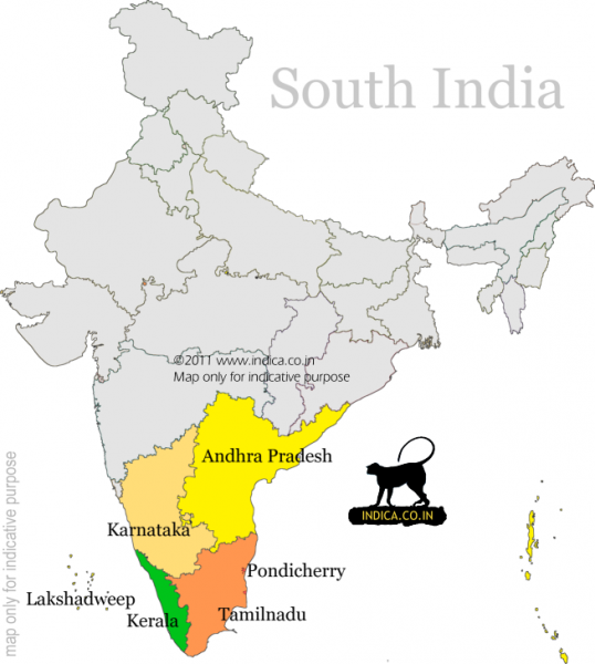 India Travel tips South India Map