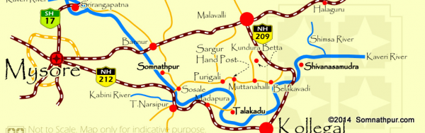 The two routes to Somnathpur from Mysore