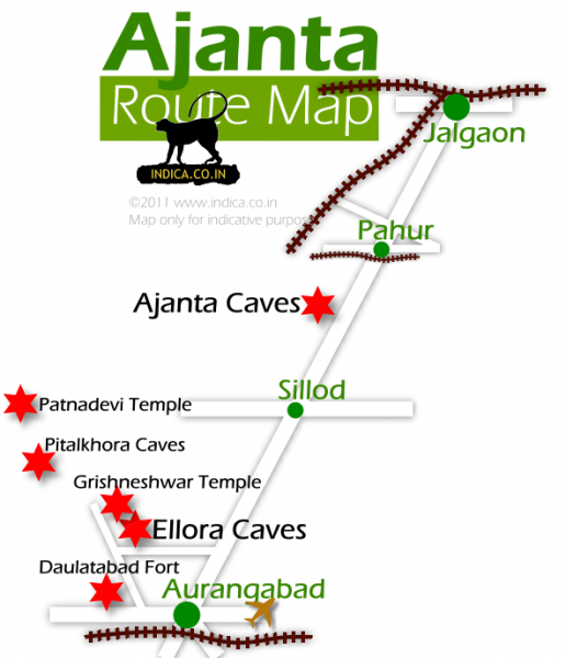 Route map for Ajanta and Ellora from Aurangabad
