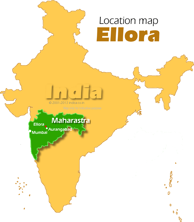 Location map for Ellora Caves