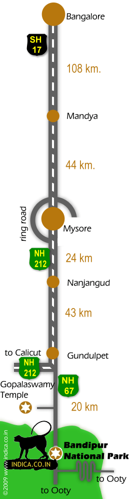 Bangalore to Bandipur road map. Route map with distances from Bangalore to Bandipur via Mysore