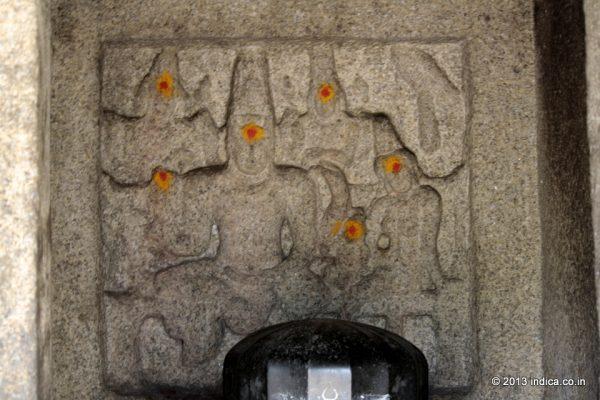 Lord Shiva as Somaskanda . Panel inside the Atiranachanda Cave.