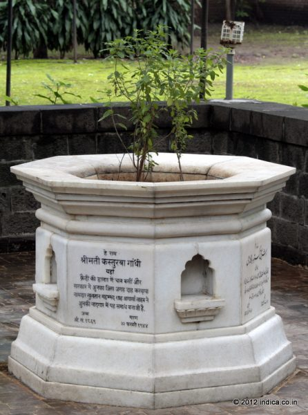 Monument at Aga Khan Palace where the Kasturba Gandhi , wife of Mahtma Gandi was buried.