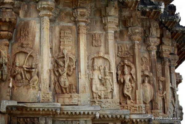 Mythical themes on the outer walls of Vidyashankara temple at Sringeri