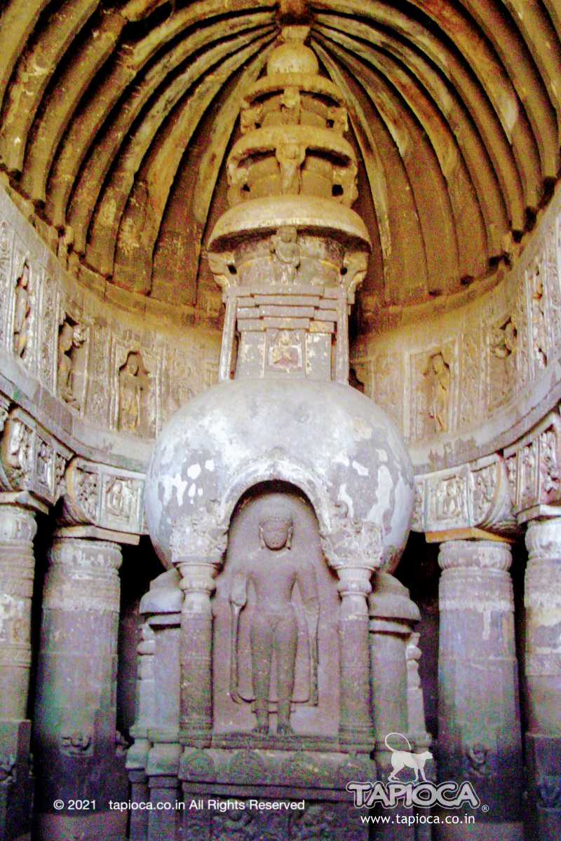 Inside Ajanta Cave 19 . The stupa with standing image of Buddha carved on it