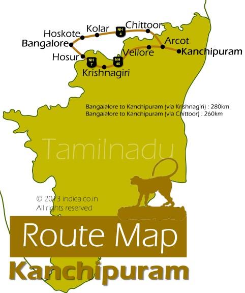 Route Map For Bangalore To Kanchipuram Bangalore To Kanchipuram - Map route distance