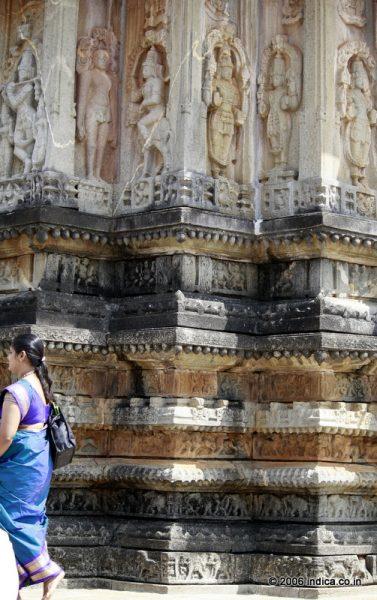 The fluted walls of the Dasavatara theme on the outer walls of Vidyashankara temple at Sringeri