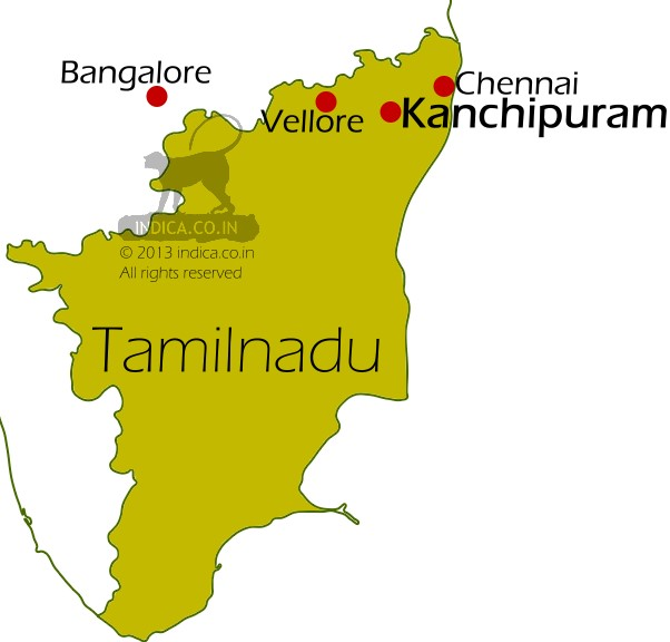 Kanchipuram in Tamilnadu is located 72km southwest of Chennai. Also Kanchipuram by road is 70km and 280 km east of Vellore and Bangalore respectively.