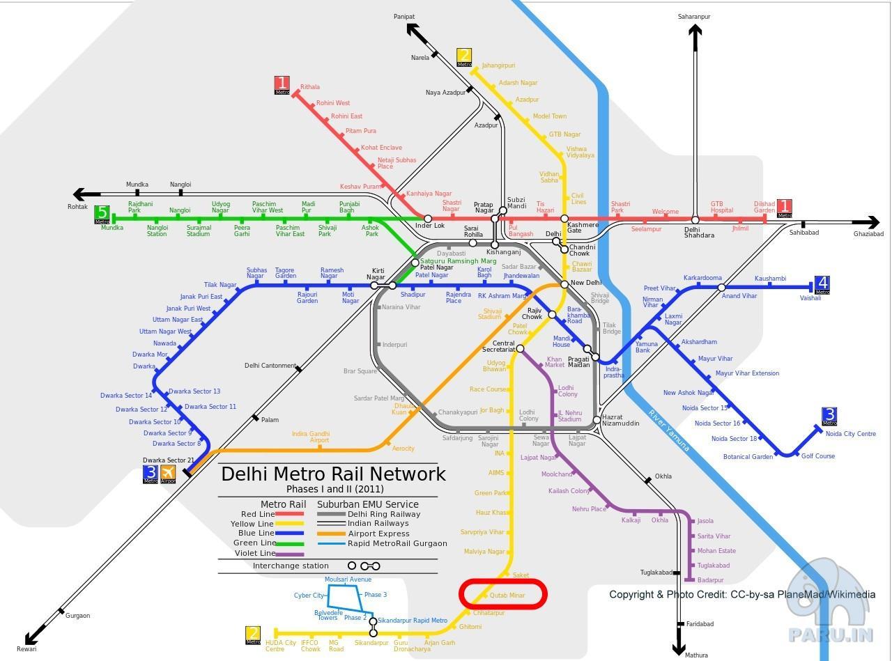 Delhi Metro network and Railway station for Qutab Minar