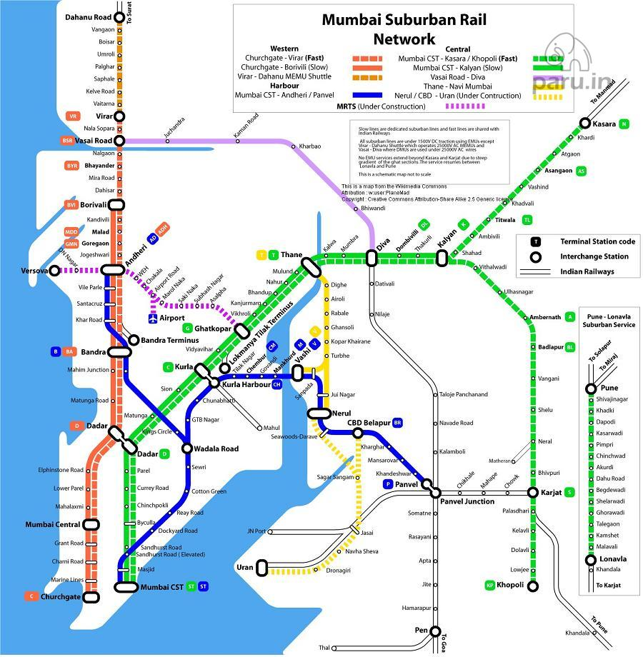 Mumbai Suburban Rail Map ✤ Mumbai Suburban Rail Map