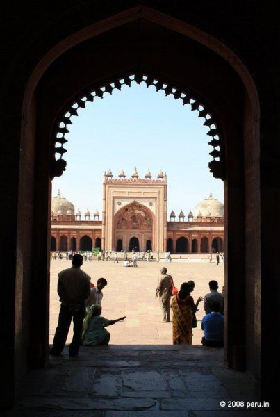 Fatehpur sikri Inside Jama Masjid viewed from Badshahi Darwaza