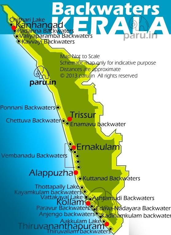 Backwaters Map of Kerala