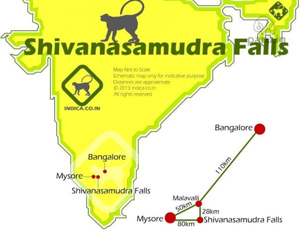 Bangalore to Shivanasamudra route map and distances
