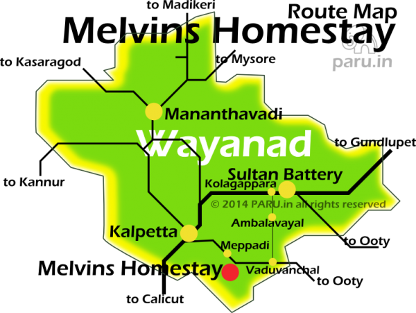 Driving Directions and location of Melvins Homesaty in Wayanad