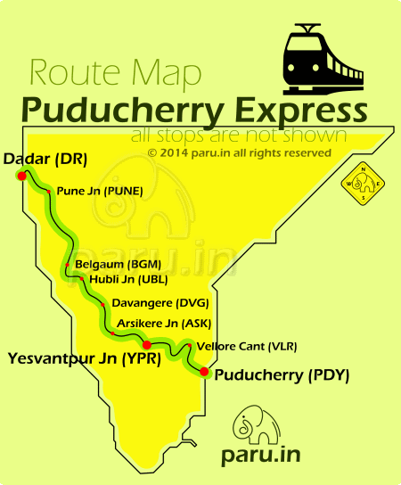 Puduchery Express Route Map