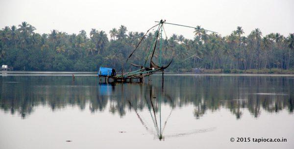 Chinese fishing net in Cherai Backwaters