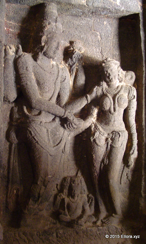 Shiva and Parvati Mural at Ellora Caves