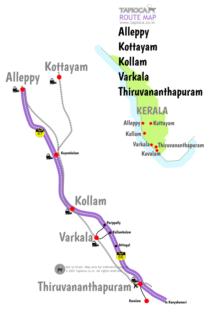 Varkala to Alleppey road and rail routes