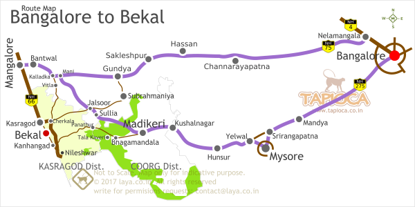 Bangalore to Bekal Road Routes