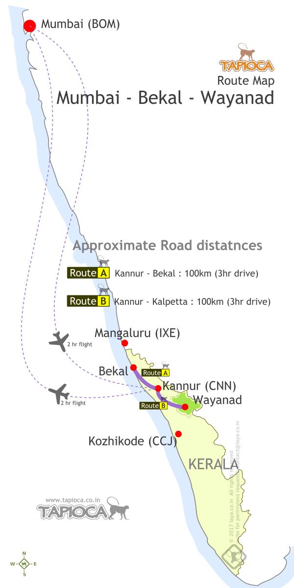 Mumbai Bekal Wayanad Route