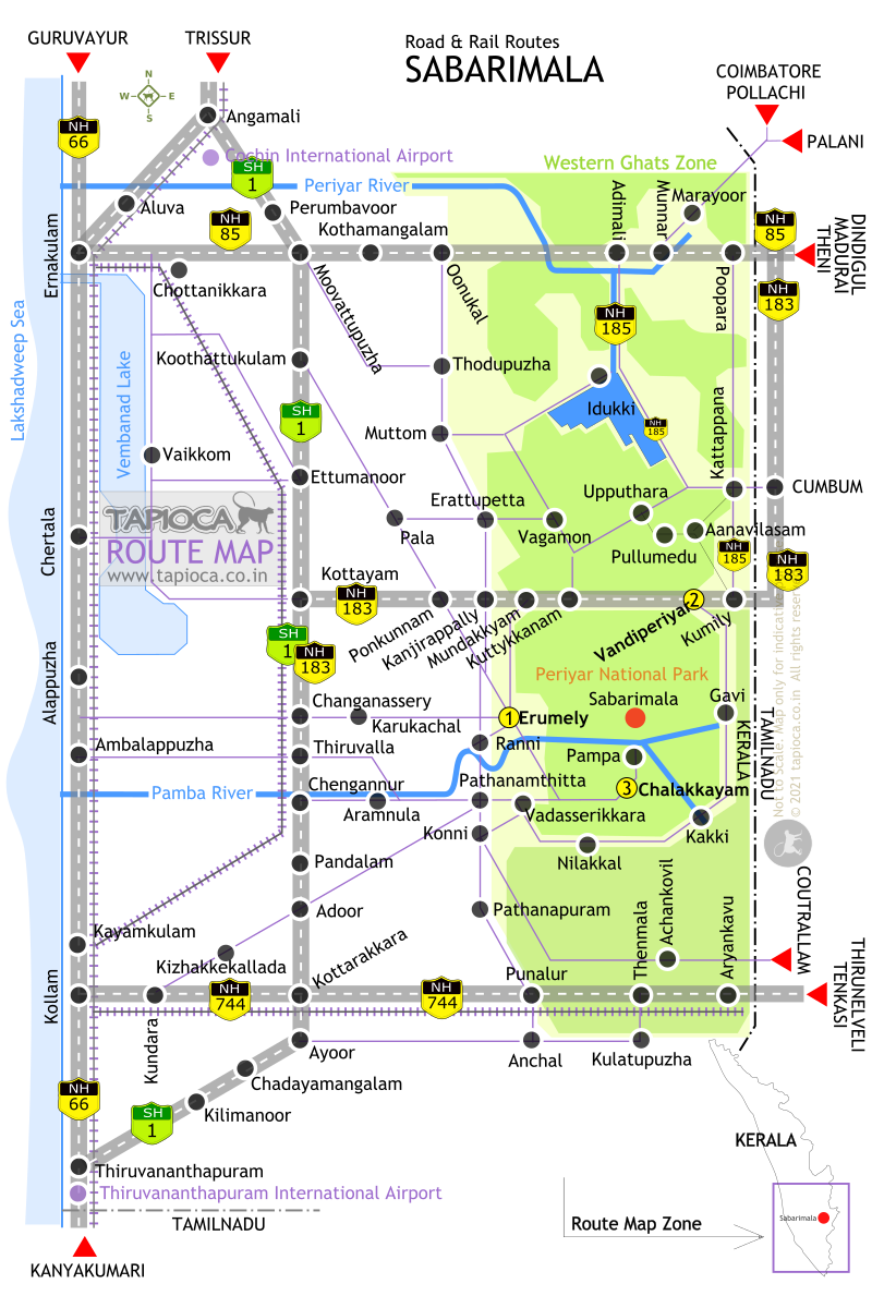Sabarimala Route Map Sabarimala Route map